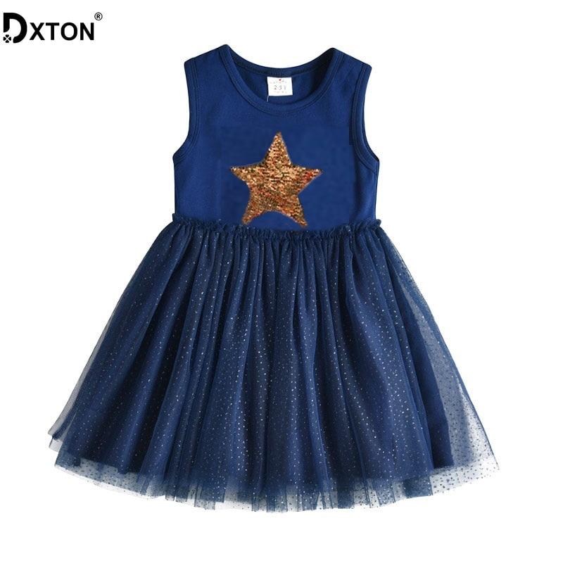 DXTON Girls Summer Dress Star Sequined Girls Tutu Dresses Kids Cartoon Princess Dress Children Costumes for Kids Cotton Clothes 1
