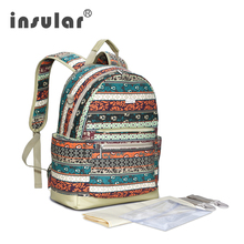 Multifunctional Mummy Bag Large Capacity Baby Stroller Waterproof Canvas Diaper Bags Ethnic Patchwork Pattern 45
