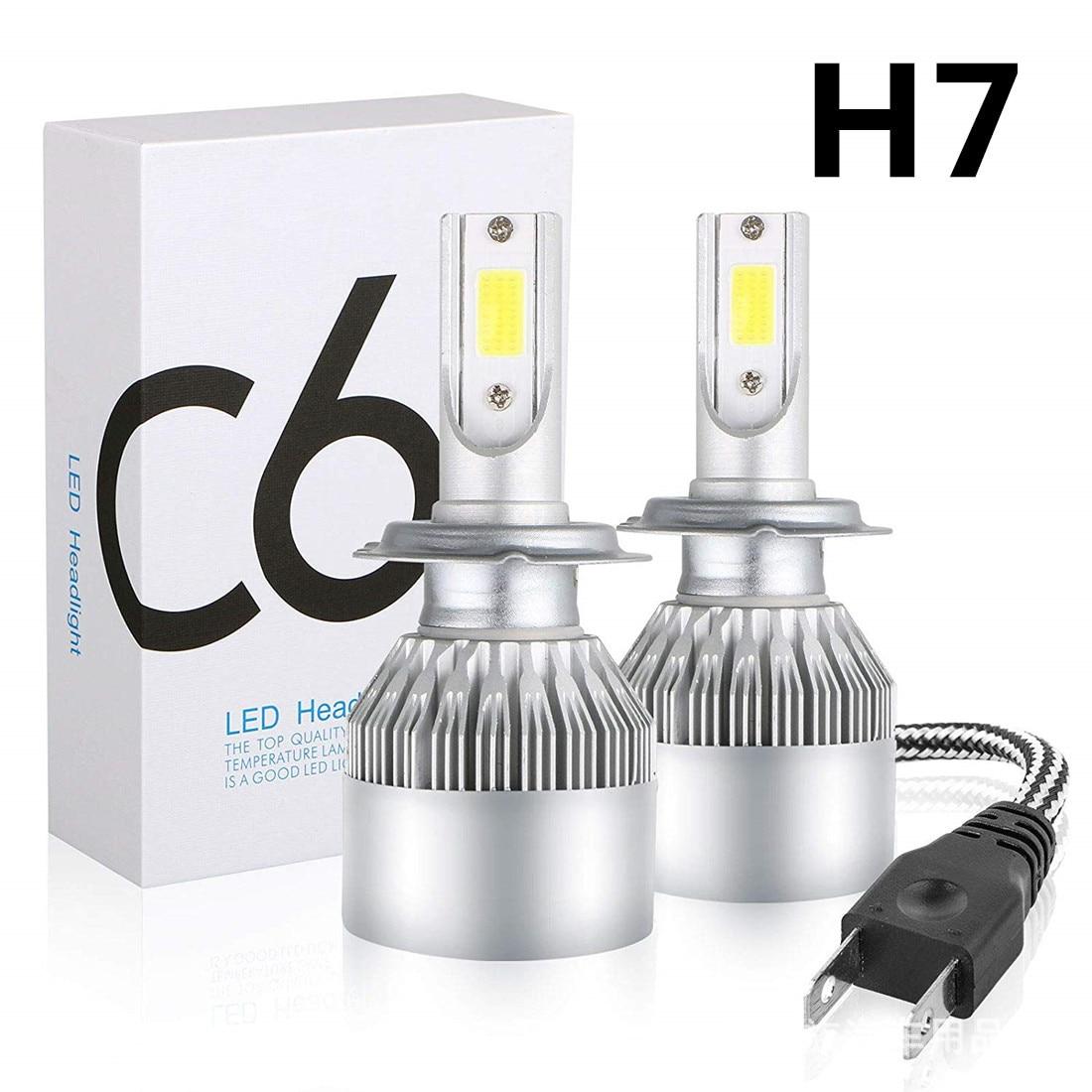 C6 H1 H3 Car Led Headlight Bulbs H7 LED Car Lights H4 880 H11 HB3 9005 HB4 9006 H13 6000K 72W 12V 7600LM Auto Headlamps 2