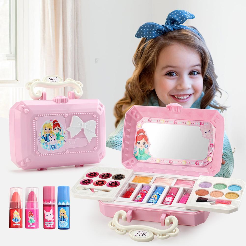 23pcs Cosmetics Makeup Set Toys Make Up Kits Play House Girl Dress Up Safety Non-Toxic Pretend Play Girls Kit