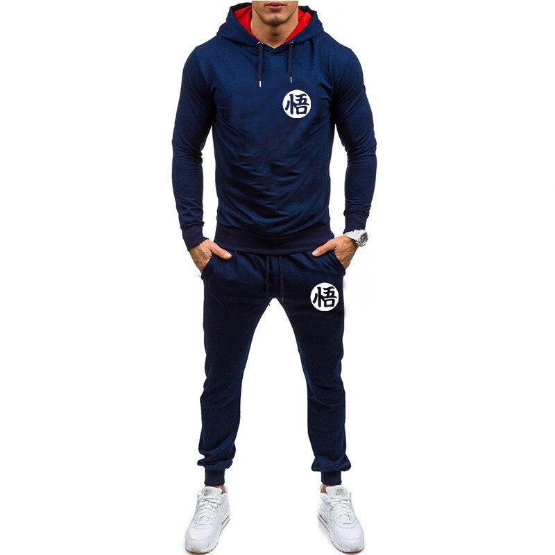 2 Pieces Sets Tracksuit Men New Brand Autumn Winter Hooded Sweatshirt +Drawstring Pants Male New Hoodies Bigsweety