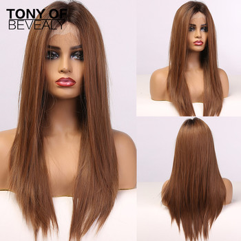 Long Straight Brown Lace Front Synthetic Wigs with Baby Hair for Black Women High Density Cosplay Natural - discount item  49% OFF Synthetic Hair