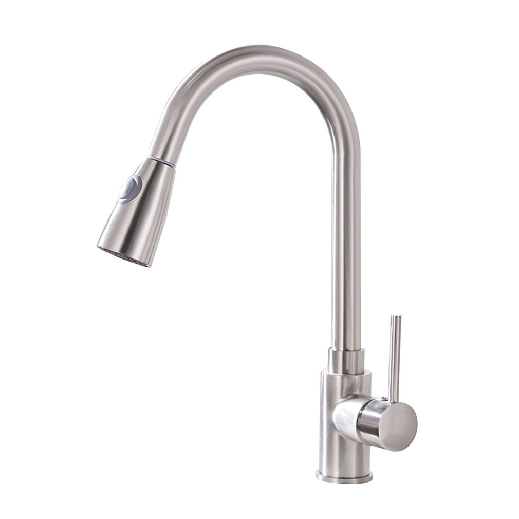 Kitchen Faucets Silver Single Handle Pull Out Kitchen Tap Single Hole Handle Swivel 360 Degree Water Mixer Tap Mixer Tap