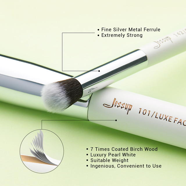 Jessup makeup brushes 25pcs White/Silver Synthetic/Natural Hair pincel maquiagem Eyeshadow Foundation Highlighter brushes T235 2