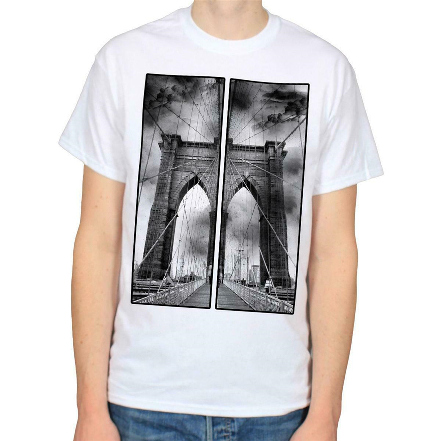 Brooklyn Bridge New York City Nyc America Usa Men'S Black T-Shirt Size S-Xxl Plus Size Clothing Tee Shirt image