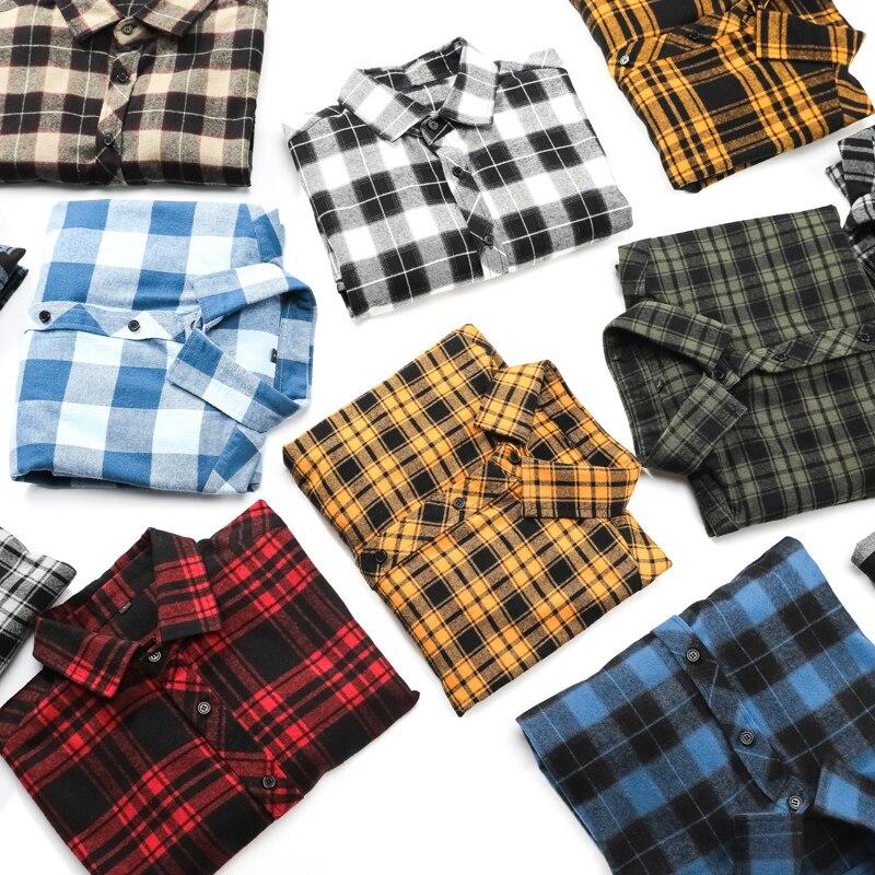 100% Cotton Flannel Men's Plaid Shirt Slim Fit Male Casual Long Men Dress Shirts Fashion Slim Fit Chemise Homme Cotton Male Shir