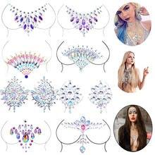 Adesivos de peito sensual femininos, adesivos de tatuagem para bar, festival de música, strass, adesivos de corpo, tatuagens para festa diy b3882, 1 peça