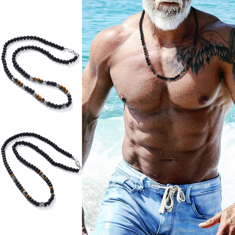 BOHO BEADED NECKLACES FOR MEN ETHNIC NECKLACE MALA NECKLACE TRIBAL NECKLACE SURFER JEWELRY GIFT FOR MEN