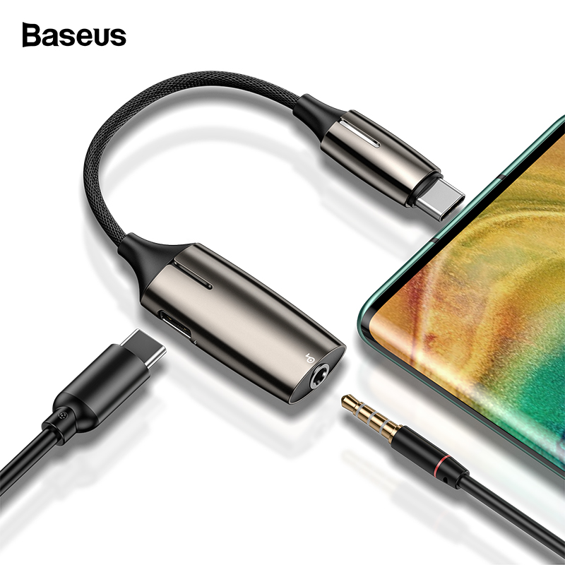 Baseus OTG USB C Cable Adapter For Huawei Mate 30 20 P30 20 Pro Converter USB Type C Male To 3.5mm Jack Type C Female OTG Cable