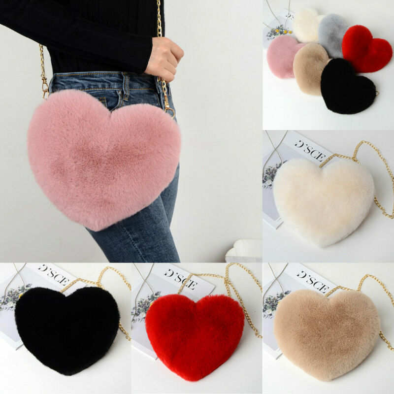 Women's Plush Love Shoulder Hairy Bag Valentine Day Gift Heart-shaped Bag HOT