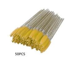 50 sztuk Crystal Rod jednorazowe pędzle do rzęs pędzel kosmetyczny Lipbrush rzęs Spooly narzędzie kosmetyczne szczoteczki do tuszu do rzęs TXTB1