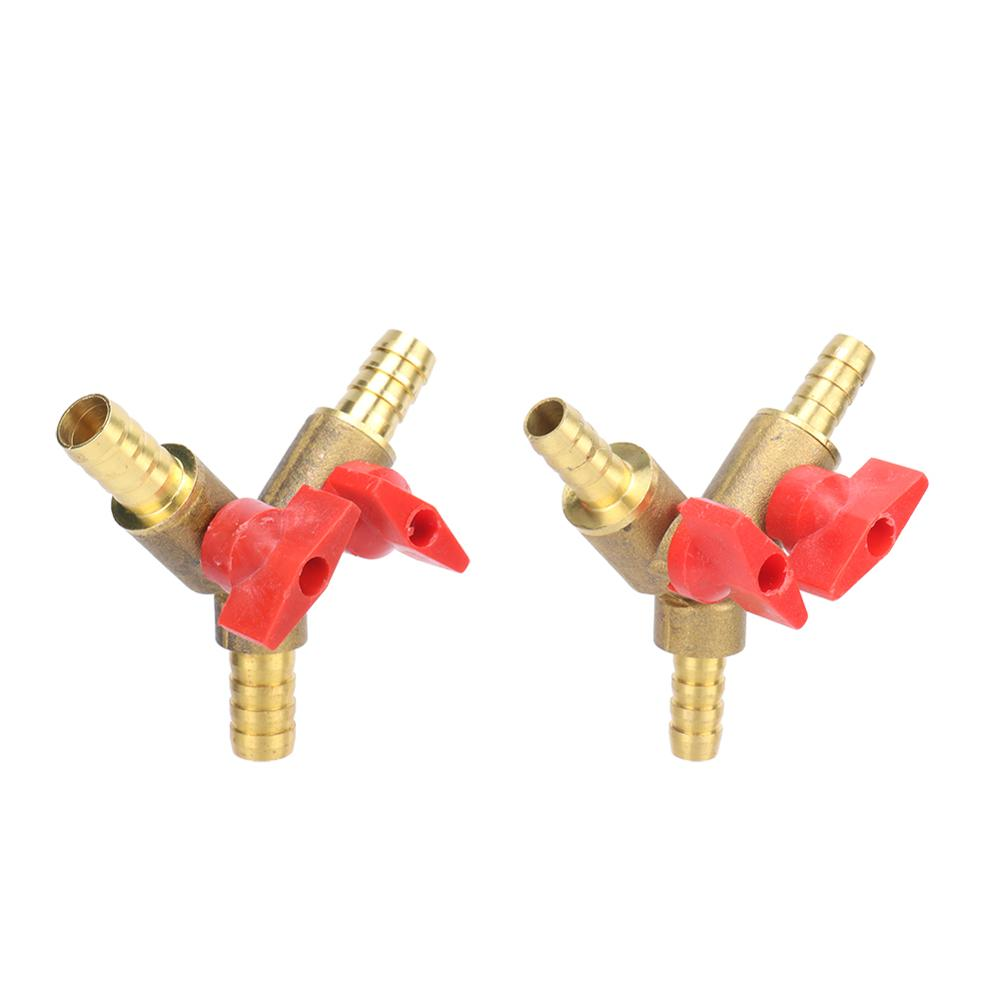 8mm 10mm Hose Barb Y Shaped Three Way Brass Shut Off Ball Valve Pipe Fitting Connector Adapter For Fuel Gas Water Oil Air 1 Pc