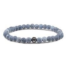 Мужской/женский браслет из натурального камня, черный браслет с бусинами из лавы, 6 мм