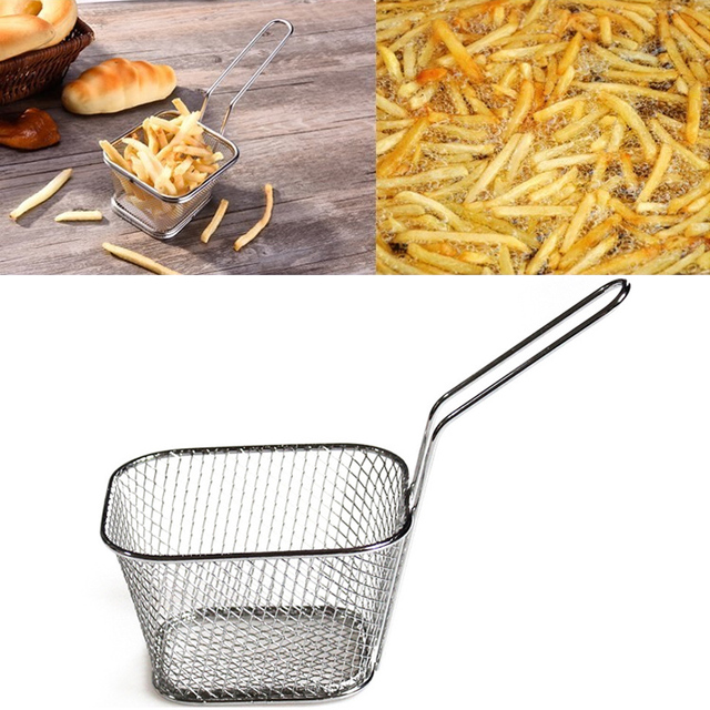 Mini friteuses françaises panier filet maille frites puce outil de cuisine acier inoxydable friteuse maison Mini frites paniers crépine 1
