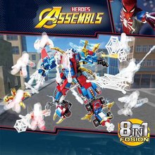 8pcs Avengers 4 Super Heroes Spider Man Mech Building Blocks Bricks Boy Toys B608