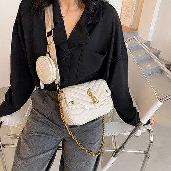 2 Pcs/Set Women Shopping Bag Luxury PU Leather Shoulder Bag Female Casual Chains Belt Composite Bag Lady Handbag and Purse