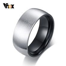 Мужское кольцо vnox 8 мм с матовой поверхностью черное внутреннее