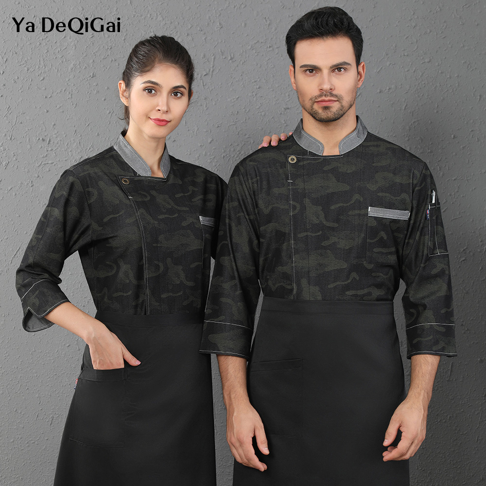 Long Sleeves Hotel Restaurant Chef Uniforms Kitchen Work Jackets Unisex Coffee Shop Waitress Coats M-4XL Catering Cook Shirts