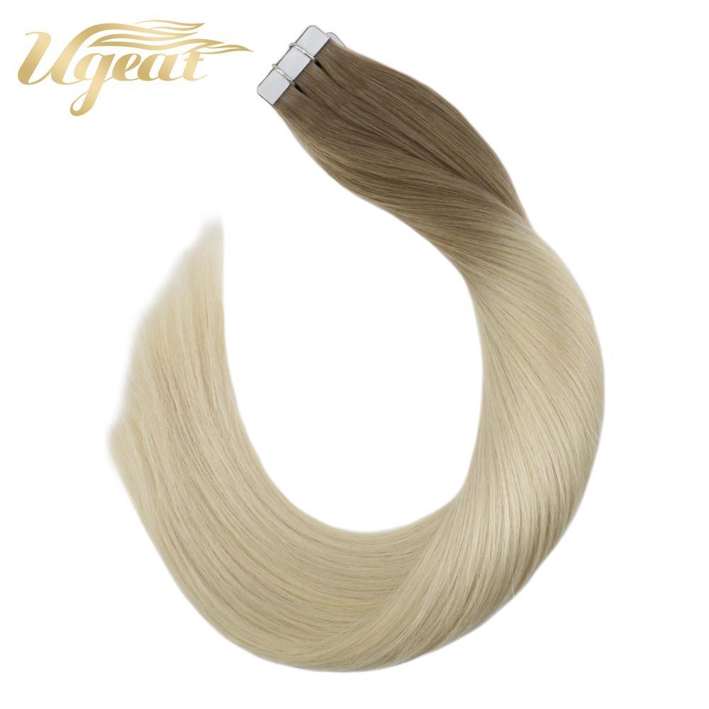 Ugeat натуральные человеческие волосы Remy на ленте для наращивания, двухсторонние клеящиеся волосы для наращивания, цвет Омбре, 12-24 дюйма, 10 p/20