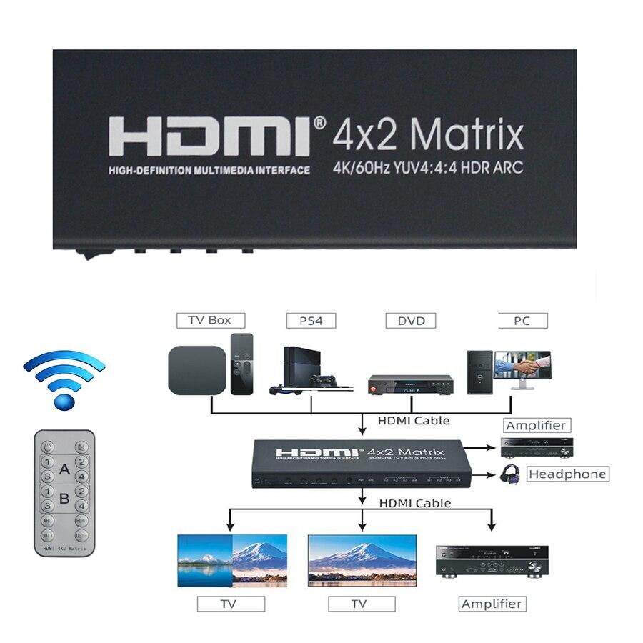4K 60 Гц HDMI матрица 4x2 HDR ARC HDMI Сплиттер 4 в 2 Выход YUV 4:4:4 оптический SPDIF 3,5 мм jack аудиовыход HDMI переключатель
