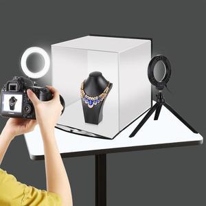 Image 5 - PULUZ Portable Softbox 30*30CM boîte à lumière Studio LED Photo Lightbox et 6 couleurs décors pour la photographie de table LED boîte déclairage