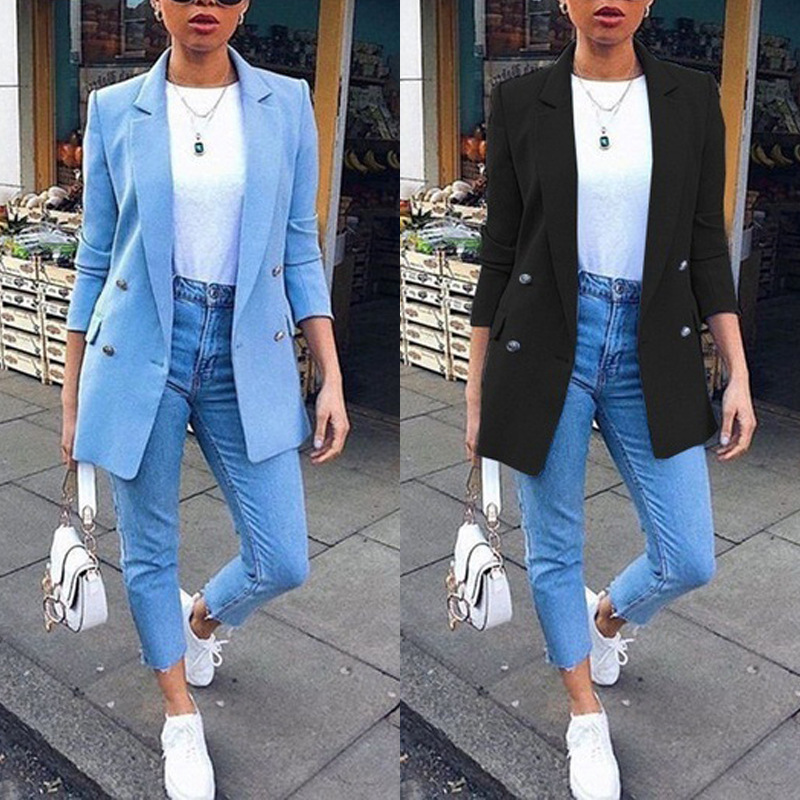 New fall hit hot style women's wear solid color cardigan lapel long sleeve blazer