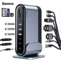 Baseus-moyeu de USB C 17 en 1, Type C à multi-hdmi, RJ45, USB VGA, 3.0 avec adaptateur électrique, Station d'accueil pour MacBook Pro