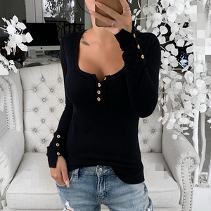Winter Tshirt Womens Casual Button Printed Shirts O-neck Long Sleeve Top Loose T-shirt Basic Clothing Camisas De Moda Mujer 2020