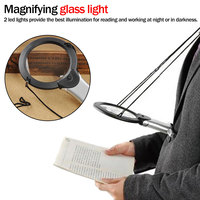 Hands Free LED loupe Lighted Reading Magnifier Neck Wear Magnifying Glass For Seniors Sewing Embroidery|Magnifiers|Tools -