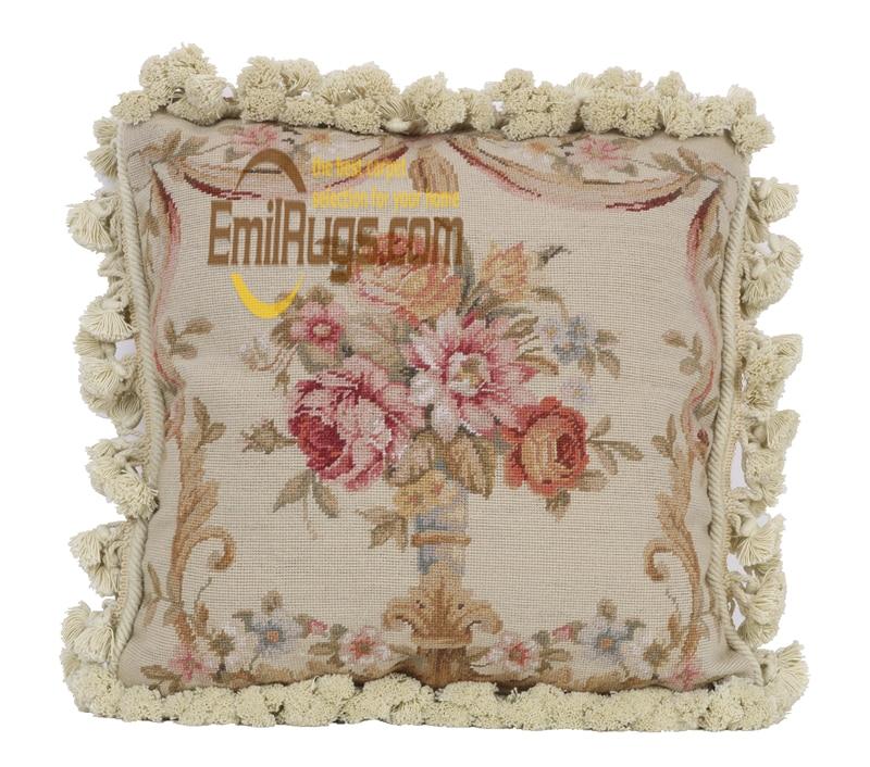 Coussin de broderie ruban pour voiture nouvelle laine woolenen aiguille noël Aubussion housse de coussin carré - 3