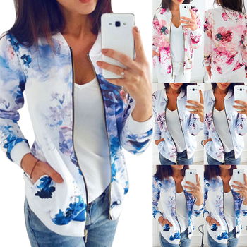 2020 Floral Printed Summer Women's Jackets Plus Size Short Female Coat Zipper Chaqueta Long Sleeve Women Bomber Jacket