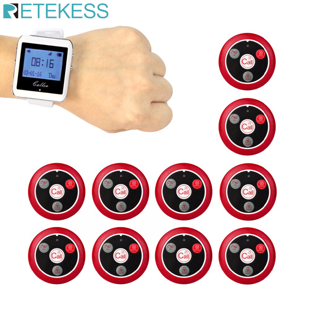 999 Channel Wireless Pager Restaurant Waiter Calling System 10pcs Call Transmitter Button T117 + 1pcs Watch Receiver 433MHz-in Pagers from Computer & Office