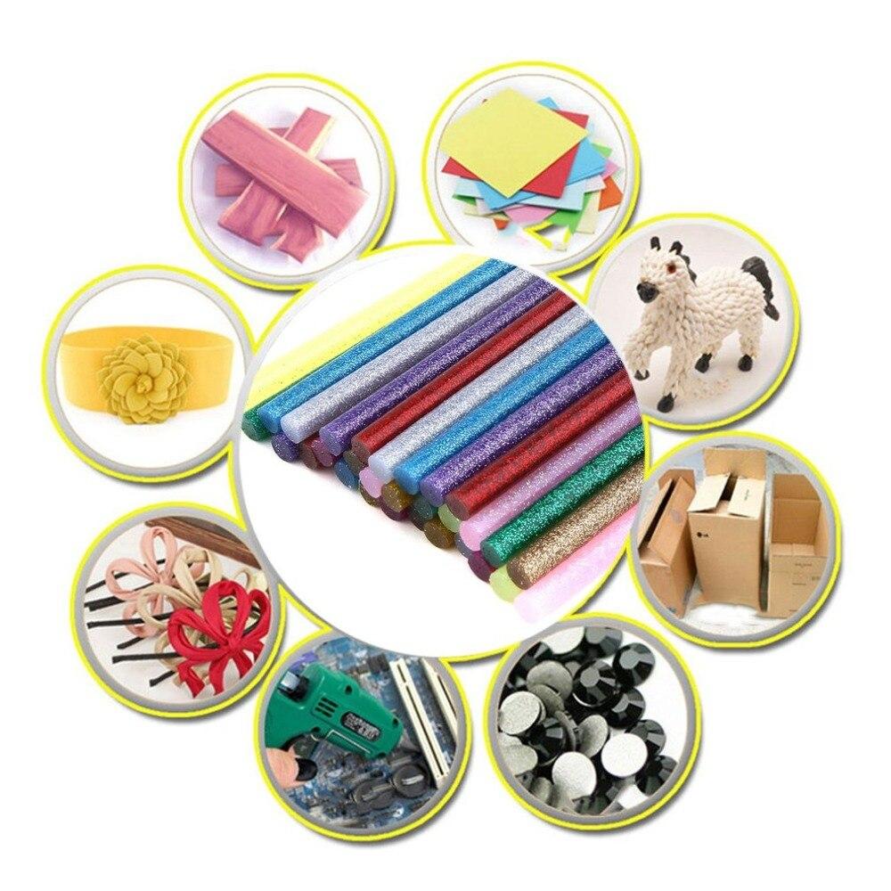 30pcs/pack Multi Colors Glitter Hot Glue Sticks Non-toxic High Adhesive Sticks Melt Glue DIY Decor Handcraft Tools