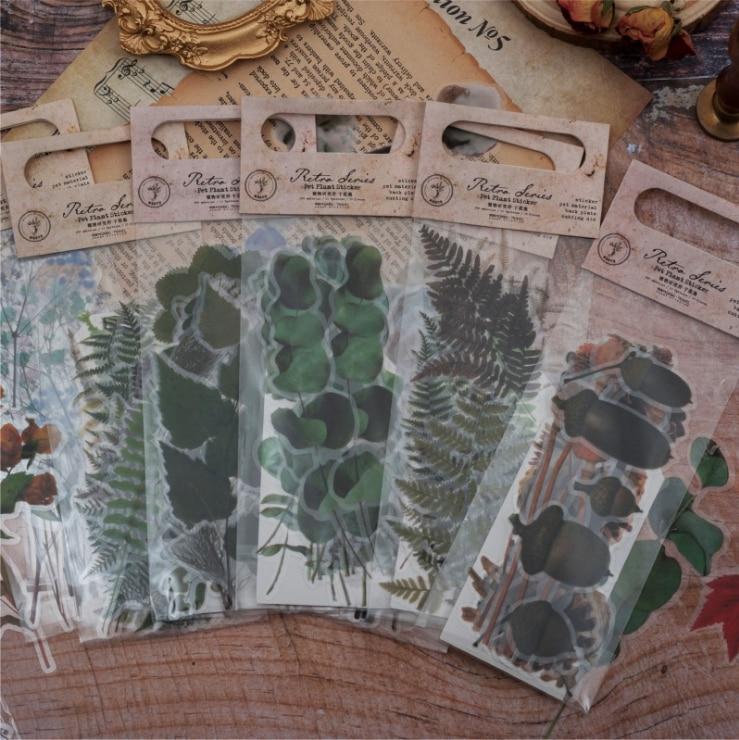 20pcs/pack Vintage Dried Flowers Sticker Decoration Diy Ablum Diary Scrapbooking Label Sticker Kawaii Stationery