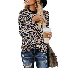 Bellflower Leopard Print T-Shirt 2019 Autumn Casual Long Sleeve Shirt Women O-Neck Loose T Shirt Top Plus Size Tshirt Women plus size pockets design leopard t shirt