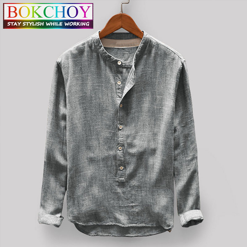 Long Sleeve Linen Shirt 2020 New Fashion Simple Cotton Shirt Sleeve Male Round Neck Men Autumn Printing Multi Color Men Shirt