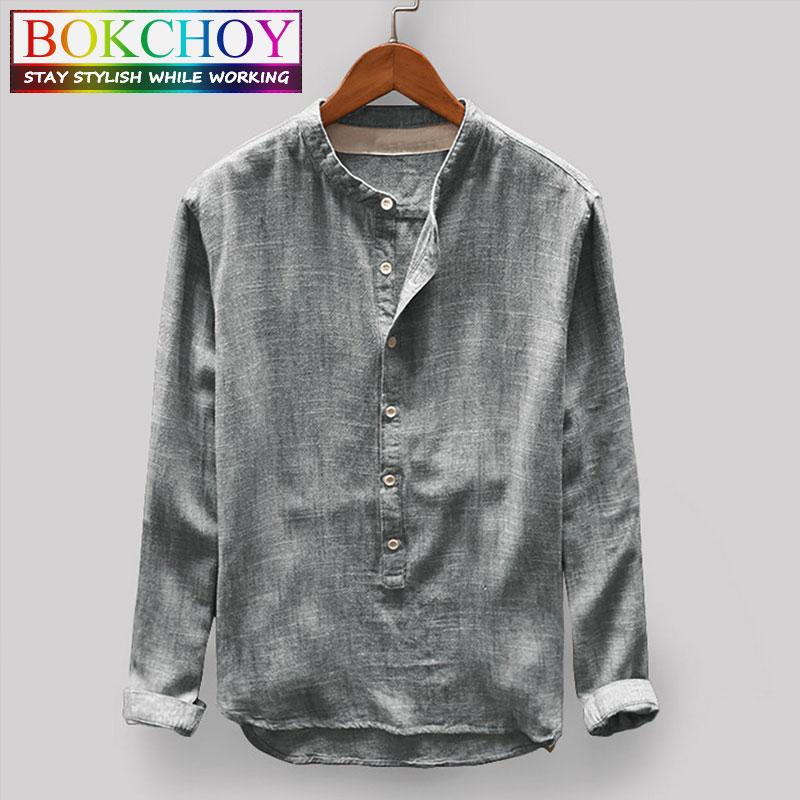 Long Sleeve Linen Shirt 2020 New Fashion Simple Cotton Shirt Sleeve Male Round Neck Men Autumn Printing Multi Color Men Shirt