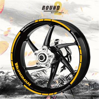 Trend Wheel Sticker Stripe odblaskowa naklejka motocyklowa wodoodporna naklejka na koło przeciwsłoneczne dla SUZUKI BURGMAN tanie i dobre opinie ksharpskin Naklejki i naklejki