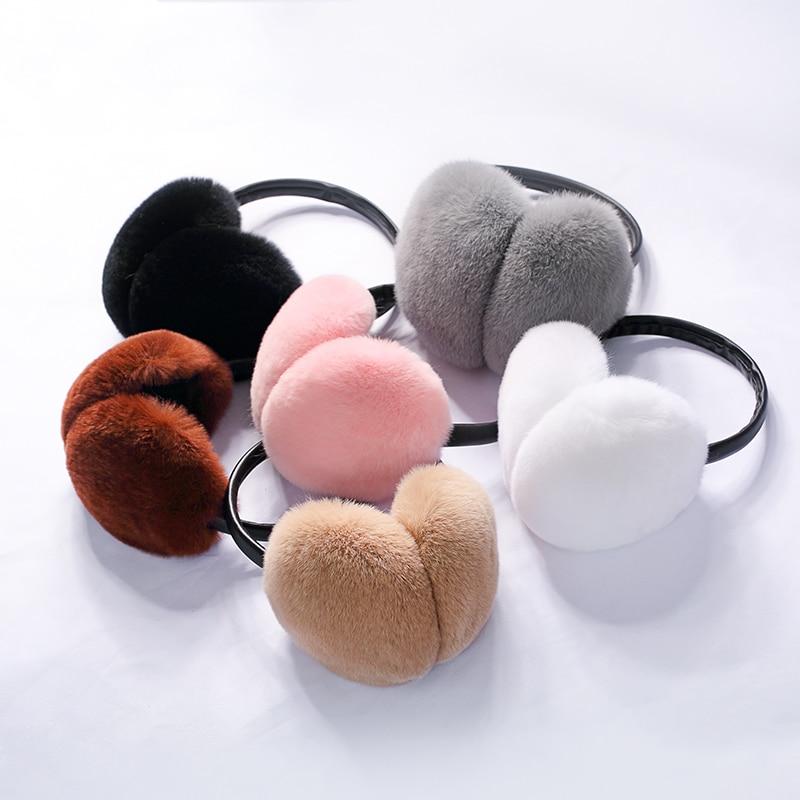 Lantafe Earmuff Winter Ear Protection Rex Rabbit Fur Women Earmuffs Warm Fluffy Fur Earmuffs Unisex Style