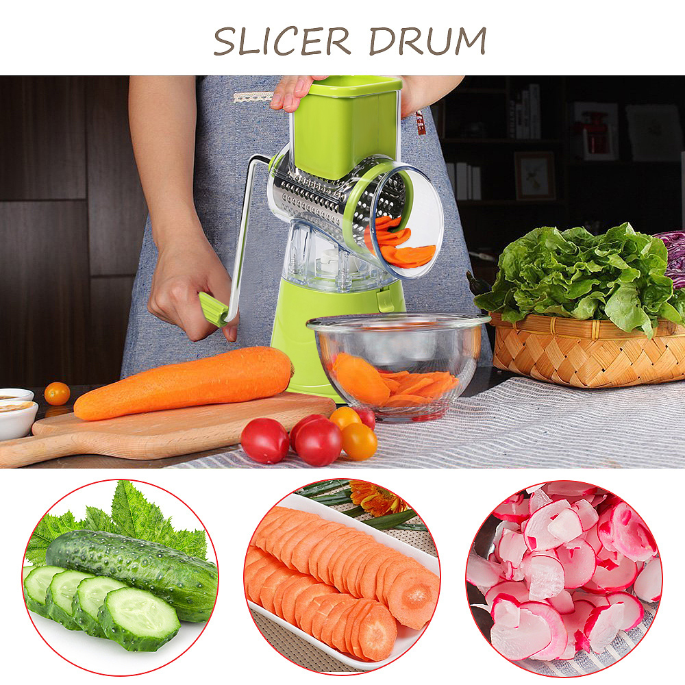 Vegetable Cutter Round Slicer Potato Carrot Cheese Shredder Food Processor Vegetable Chopper kitchen Roller Gadgets Tool|Manual Meat Grinders| |  - title=