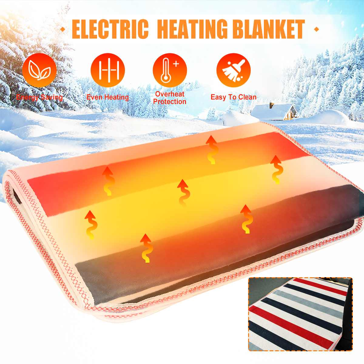 12V/24V Home Electric Heating Blanket Thermostat Throw Single Body Warmer Bed Mattress Winter Electric Heated Carpets Mat Pads