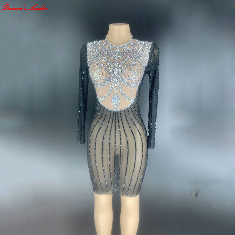 Rhinestones women Dress Black  Dress Sexy Nightclub Long Sleeve Full Stones One-piece Dancer Costume Birthday Party Sexy Dress