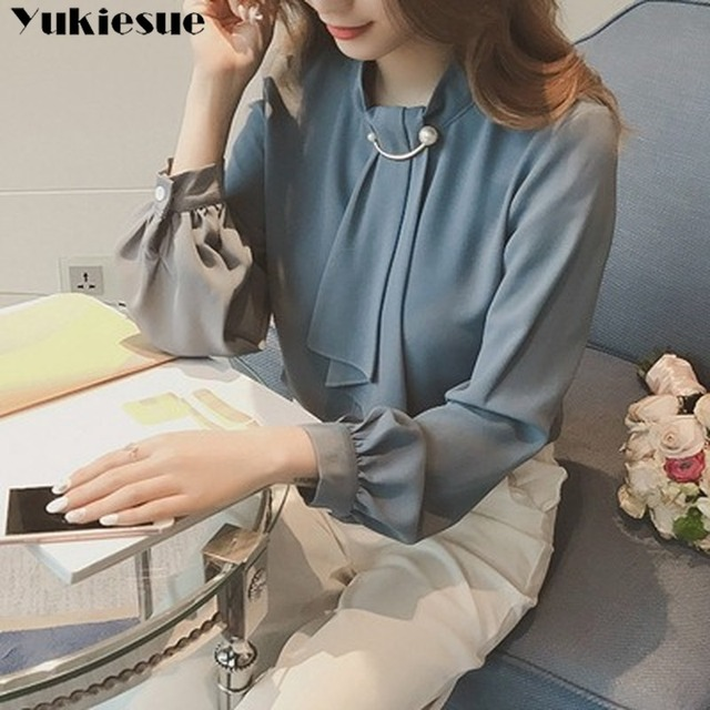 2020 summer long sleeve women's shirt blouse for women blusas womens tops and blouses chiffon shirts ladie's top plus size 4