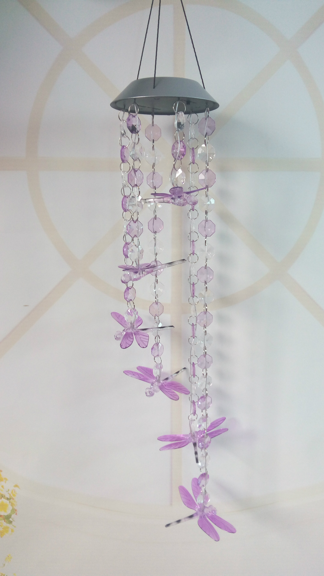Solar Wind Chime Solar Color Changing Wind Chime Beads Dragonfly LED Light Solar Garden Lamp