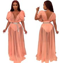 Echoine Sheer Mesh V-neck Sexy Dress Evening Party Club Dresses Outfits Summer Beach Robe Femme Tansparent Lace Vestidos