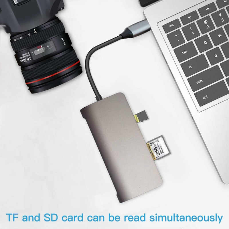 Basix نوع C HUB إلى متعدد USB 3.0 HDMI جيجابت إيثرنت RJ45 محول قفص الاتهام لماك بوك برو هواوي ماتي 30 نوع C USB 3.0 HUB