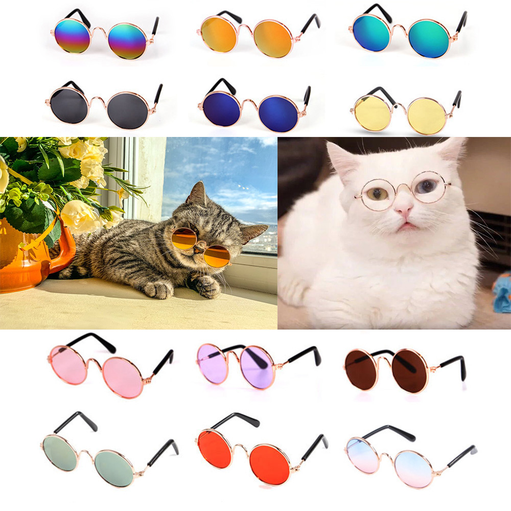 Lovely Pet Cat Glasses Dog Glasses Pet Products Cat Toy Dog Sunglasses Photos Props Pet Accessoires Round Glasses