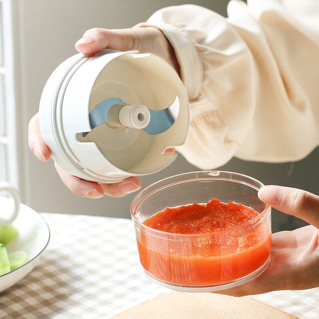 AMINNO Mini Gemüsehacker Fleischwolf Zerkleinerer für Babynahrung, Mixer Blender zum Hacken von Fleisch, Obst und Gemüse