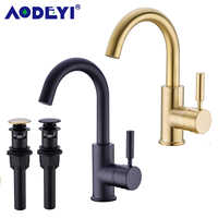 Solid Brass Black Bathroom Basin Faucet Cold And Hot Water Mixer Sink Tap Single Handle Brushed Gold Taps with Pop Up Drain