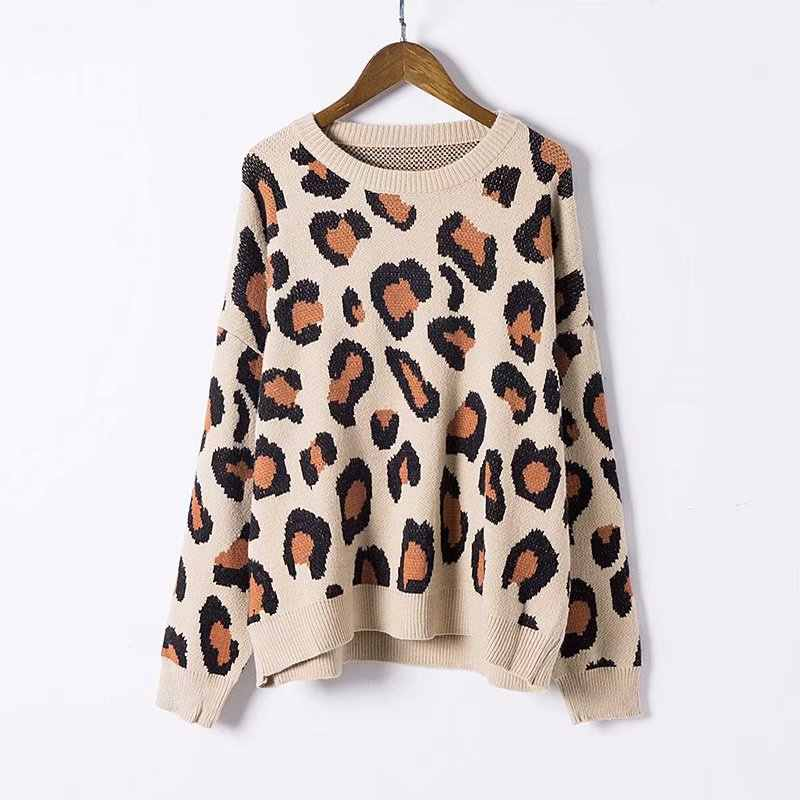 L-3-406 2018 Autumn New Style Western Style WOMEN'S Dress Contrast Color Leopord Pattern Loose-Fit Pullover Sweater